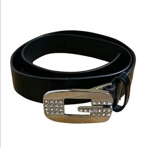 genuine leather belt  Guess —rhinestone buckle